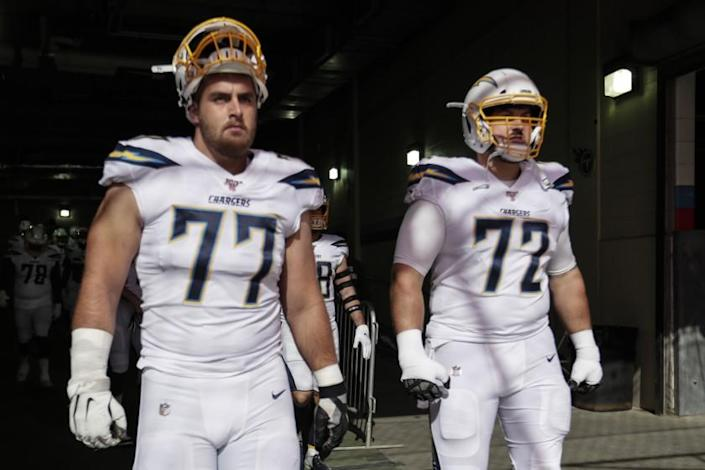 NASHVILLE, TN, SUNDAY, OCTOBER 20, 2019 - Los Angeles Chargers offensive guard Forrest Lamp (77) and Ryan Groy, 72, was to take the field against the Titans at Nissan Stadium. (Robert Gauthier/Los Angeles Times)