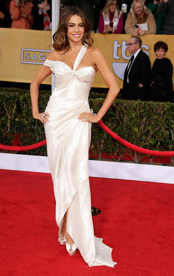 Sofia Vergara arrives at the 19th Annual Screen Actors Guild Awards at the Shrine Auditorium in Los Angeles, CA on January 27, 2013.