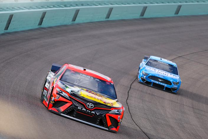 HOMESTEAD, FL - FEBRUARY 28: Martin Truex Jr., driver of the #19 Joe Gibbs Racing Bass Pro Toyota Camry, during the Dixie Vodka 400 on February 28, 2021 at Homestead-Miami Speedway in Homestead, Fl. (Photo by David Rosenblum/Icon Sportswire via Getty Images)