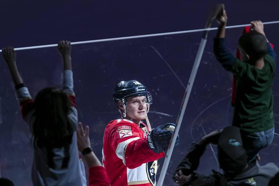 Florida Panthers center Aleksander Barkov (16) gives his hockey stick to a fan after defeating the Minnesota Wild at the BB&T Center in Sunrise, Florida on Friday, March 8, 2019.