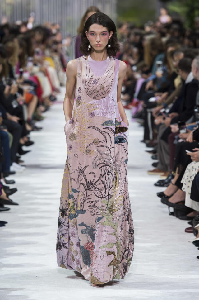 <p><i>Pink embellished maxi dress from the SS18 Valentino collection. (Photo: ImaxTree) </i></p>