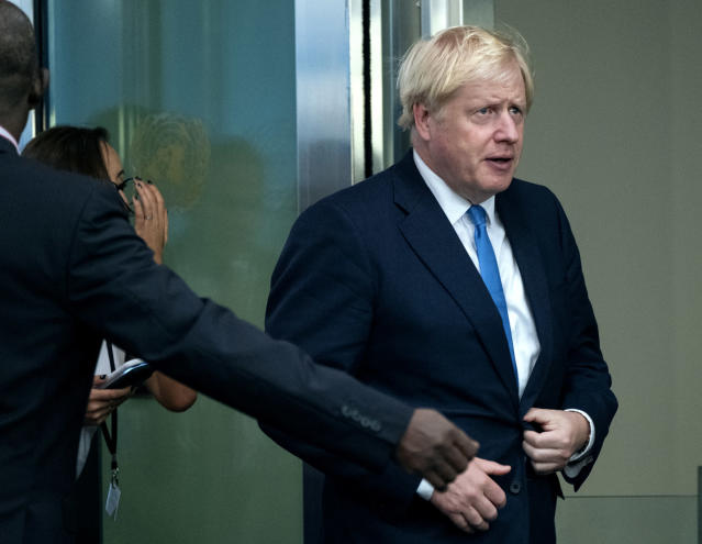Britain's Prime Minister Boris Johnson arrives for the 74th session of the United Nations General Assembly at U.N. headquarters, Monday, Sept. 23, 2019. (AP Photo/Craig Ruttle)