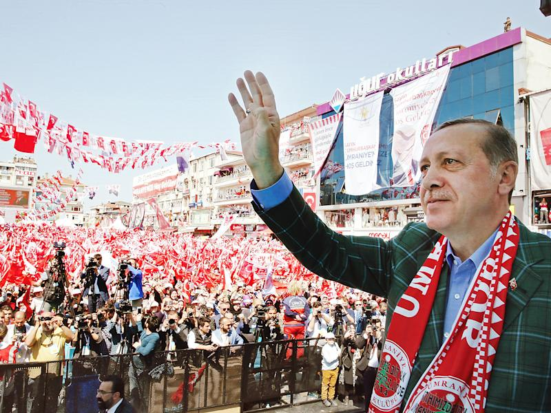 President Erdogan secured a marginal victory in a referendum called over whether to grant the presidency additional powers: EPA