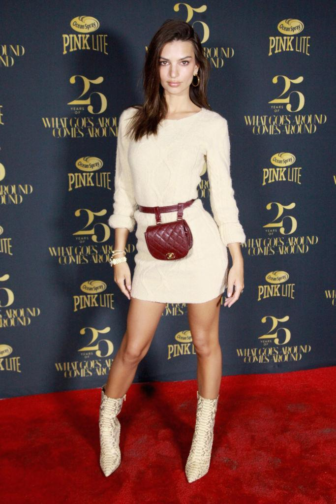 <p>Emily Ratajkowski took the belt bag trend to whole new heights courtesy of a burgundy Chanel number on September 8. One word: need. <em>[Photo: Getty]</em> </p>