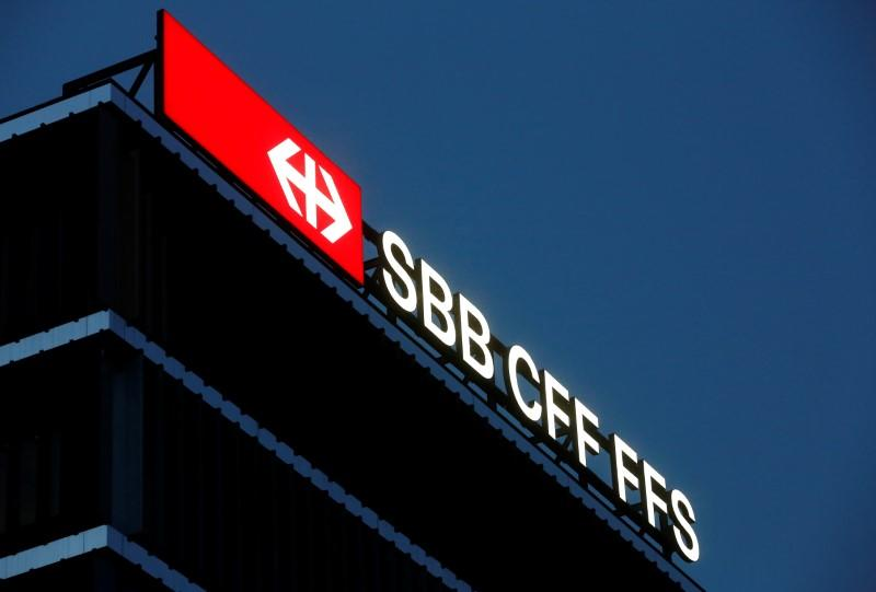 The logo on the headquarters of the Swiss Federal Railways SBB is seen in Bern
