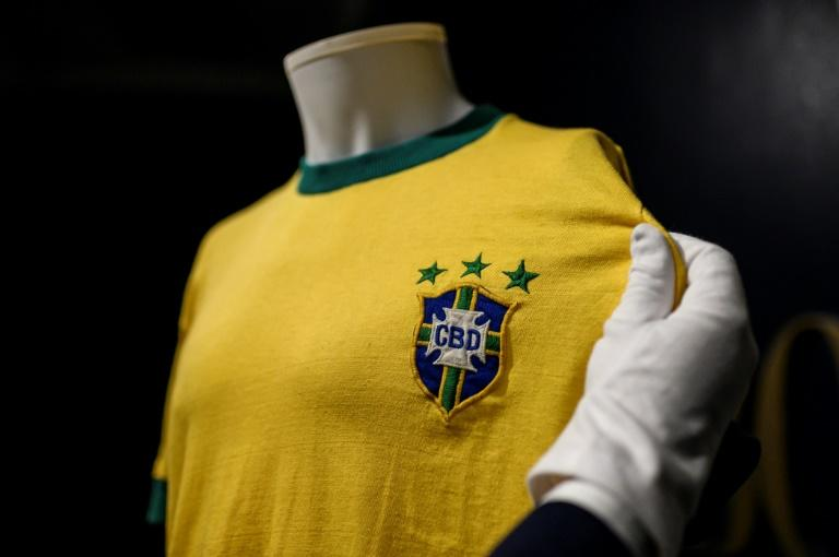 The last Brazil jersey won by football legend Pele sold at the Bolaffi auction house in Turin