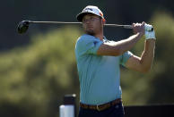 Sam Burns tees off on the ninth hole during the second round of the Genesis Invitational golf tournament at Riviera Country Club, Friday, Feb. 19, 2021, in the Pacific Palisades area of Los Angeles. (AP Photo/Ryan Kang)