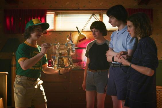 Gaten Matarazzo, Noah Schnapp, Finn Wolfhard, and Millie Bobby Brown in season three of 'Stranger Things'. (Courtesy of Netflix)