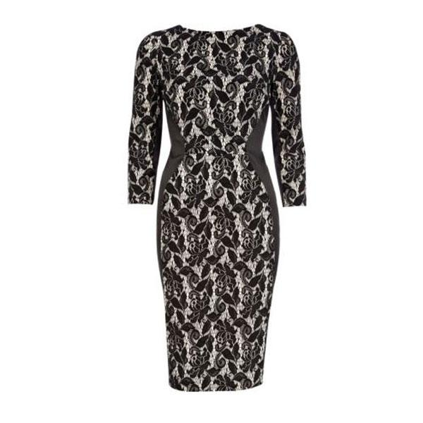 "<b><a target=""_blank"" href=""http://www.riverisland.com/women/dresses/bodycon-dresses/light-pink-and-black-lace-bodycon-dress-628300"">Light pink and black lace bodycon dress - £50 – River Island</a></b><br><br>This knee-length, optical illusion dress is ideal for curvier figures as it cinches in at the waist and covers up wobbly arms. Team it with on-trend black pointed court shoes to complete the look."