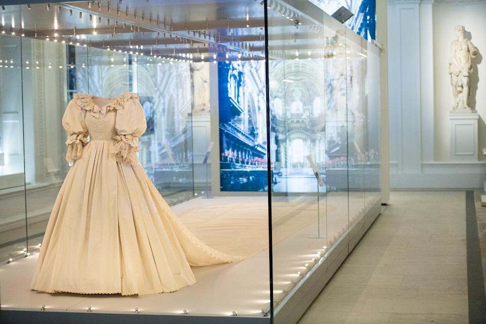 LONDON, ENGLAND - JUNE 02: The wedding dress of Diana, Princess of Wales is displayed during the