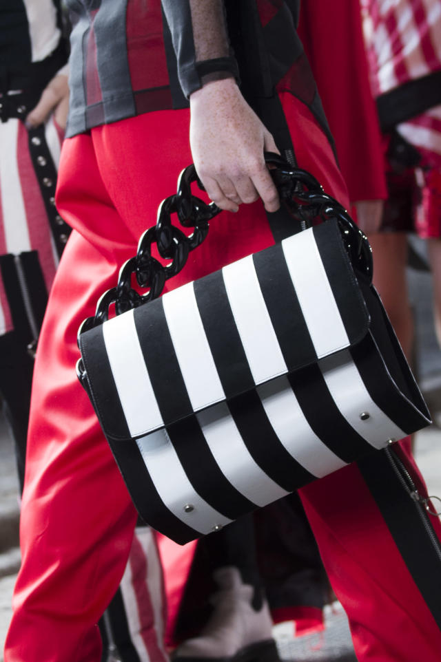 <p><i>Black-and-white-striped chain bag from the SS18 Marques'Almeida collection. (Photo: ImaxTree) </i></p>