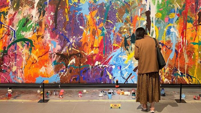 Graffiti artwork by JonOne damaged by a couple at a gallery in Seoul, South Korea on April 2, 2021