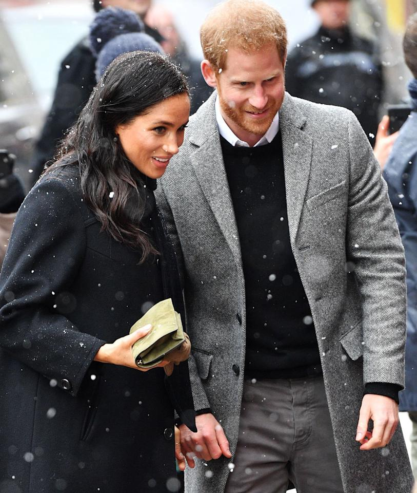 """Although snowy weather slightly delayed their train, <a href=""""https://people.com/tag/meghan-markle/"""">Meghan Markle</a> and <a href=""""https://people.com/tag/prince-harry/"""">Prince Harry</a> didn't let it prevent them from <a href=""""https://people.com/royals/meghan-markle-prince-harry-snow-day-bristol-every-photo/"""">meeting well-wishers gathered in Bristol</a> in February 2019."""