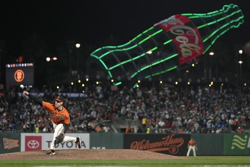 Giants pitcher Anthony DeSclafani throws to the Dodgers during the sixth inning Sept. 3, 2021, in San Francisco.