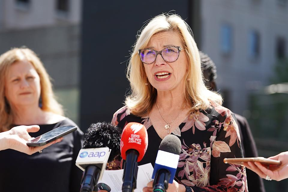 Rosie Batty speaks to the media outside the Family Court of Australia in Melbourne.