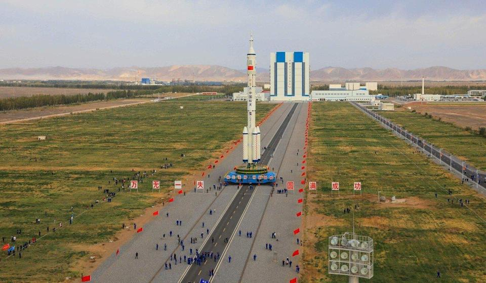 A Long March 2F carrier rocket, carrying the Shenzhou 13 spacecraft, at the Jiuquan satellite launch centre in China. Photo: AFP