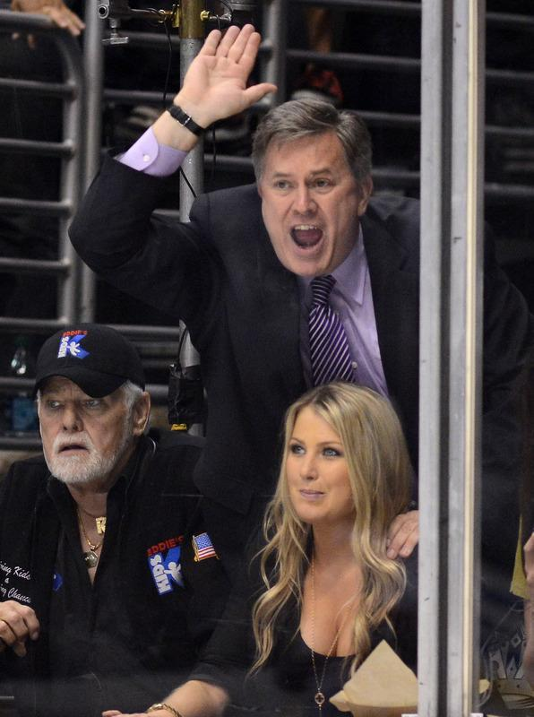 LOS ANGELES, CA - JUNE 11: Los Angeles Kings Governor Tim Leiweke hits the glass as he cheers on in Game Six of the 2012 Stanley Cup Final against the New Jersey Devils at Staples Center on June 11, 2012 in Los Angeles, California. (Photo by Harry How/Getty Images)