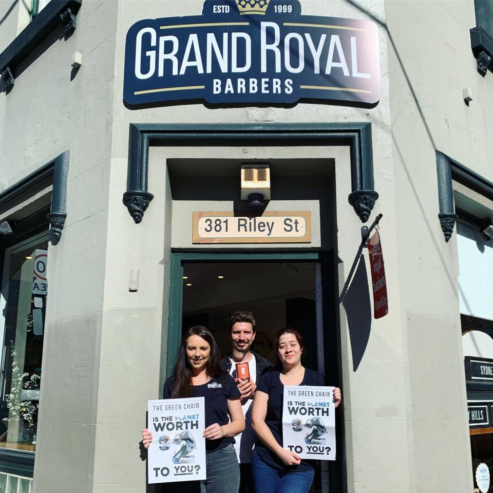 Members of the Grand Royal Barbers Surry Hills team proudly posing outside their store. Source: Sustainable Salons