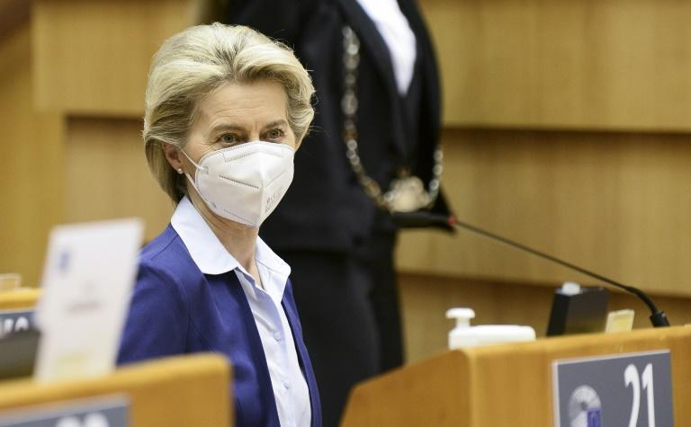 """More safe and effective vaccines are coming to the market,"" EU Commission President Ursula von der Leyen (pictured March 10, 2021) said in a tweet after the European Union approved the Johnson & Johnson coronavirus vaccine"