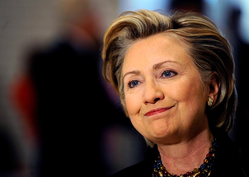 """<a href=""""http://www.senate.gov/artandhistory/history/common/briefing/women_senators.htm""""><strong>Served from:</strong></a> 2001-09 Sen. Hillary Clinton (D-N.Y.) speaks to reporters after casting her vote on November 4, 2008 in Chappaqua, New York. (Photo by Jeff Zelevansky/Getty Images)"""