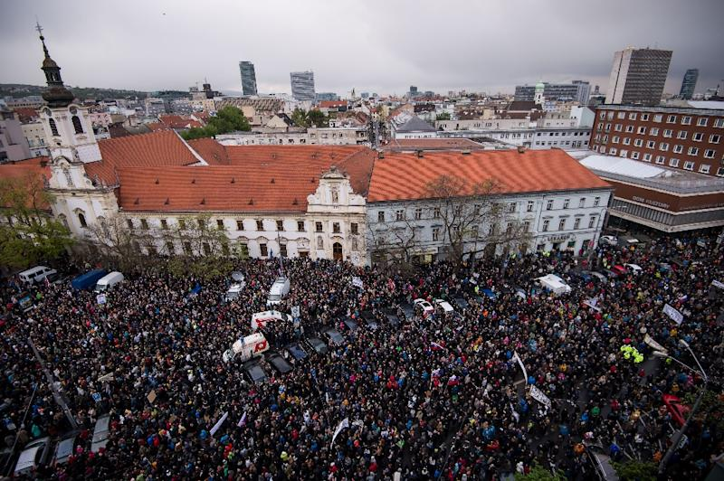 The rally in Slovakia's capital Bratislava was organised by a couple of high school students