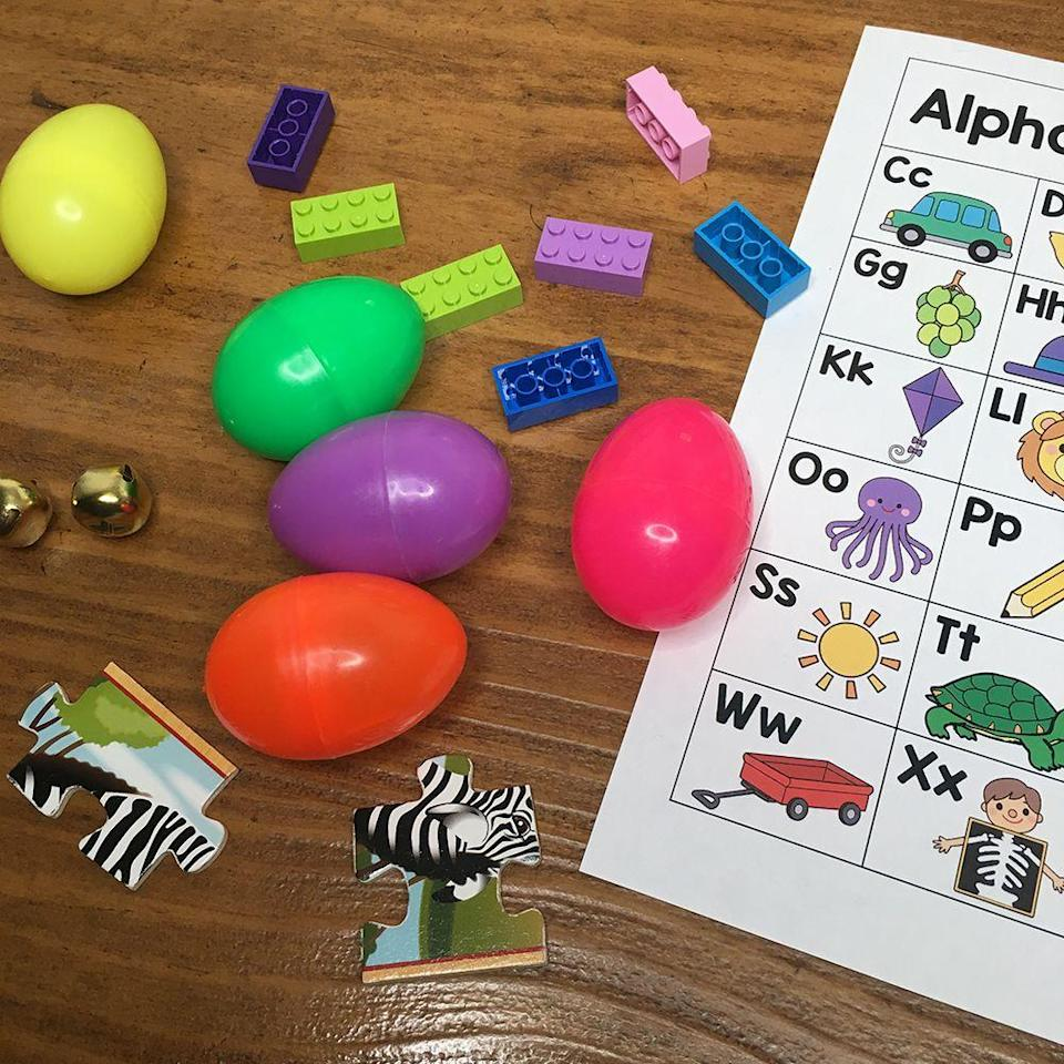 """<p>Take the sound idea one step further and make the hunt a """"sound match"""" game. Fill pairs of plastic Easter eggs with objects that sound different when you rattle them — bells, Lego bricks or coins, for example — and see if kids can find the matches. (Just watch out, since these small items can be choking hazards.)</p><p><em><a href=""""https://www.prekinders.com/egg-hunt-ideas-preschoolers/"""" rel=""""nofollow noopener"""" target=""""_blank"""" data-ylk=""""slk:Get the tutorial at PreKinders »"""" class=""""link rapid-noclick-resp"""">Get the tutorial at PreKinders »</a></em></p>"""