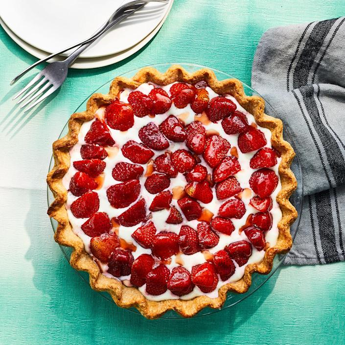 <p>This simple strawberry tart shines with the natural sweetness of fresh strawberries. A lightly sweetened cream cheese filling holds the berries in place, while a light glaze of strawberry jam gives the tart an extra boost of strawberry flavor.</p>