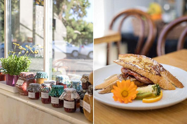 What a spread: Jars of assorted artisanal preserves and a Kiwi-style brekkie.