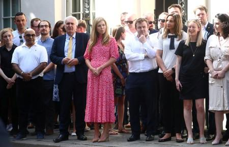 UK PM's partner, Carrie Symonds, seen among crowd waiting for Johnson in Downing Street
