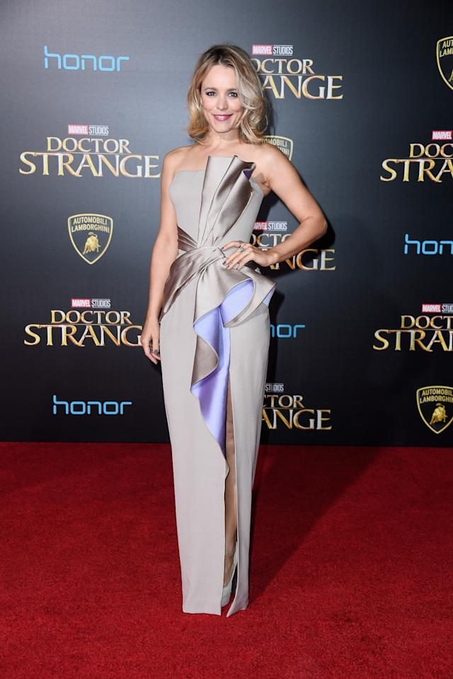<p>Rachel often plays it safe with her red carpet fashion, so we were thrilled to see the Canadian star work this ruffled, and dramatic, Atelier Versace number. <i>[Photo: Getty]</i></p>