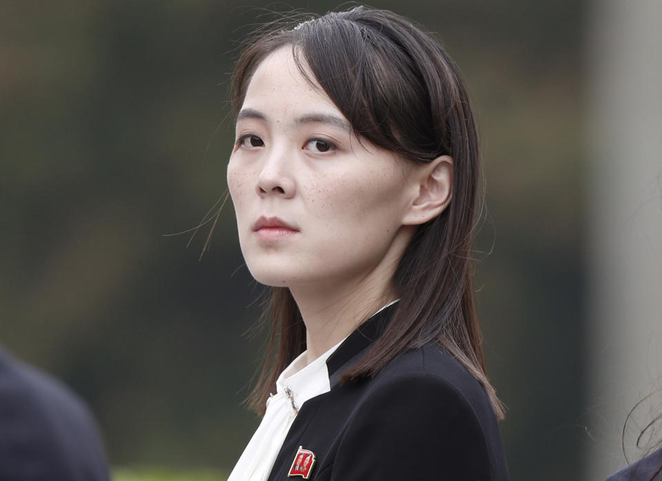 FILE - In this March 2, 2019, file photo, Kim Yo Jong, sister of North Korea's leader Kim Jong Un attends a wreath-laying ceremony at Ho Chi Minh Mausoleum in Hanoi, Vietnam. The Kim's sister said Friday, Sept. 24, 2021, North Korea is willing to resume talks with South Korea if it lifts hostility on her country. (Jorge Silva/Pool Photo via AP, File)