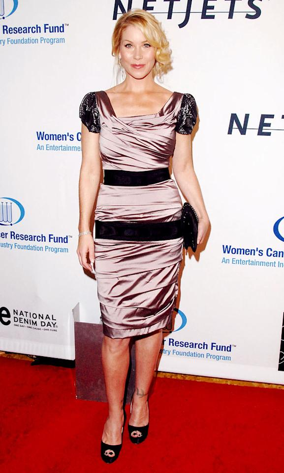 """Breast cancer survivor Christina Applegate showed her support for the cause in pretty pink and black lace. Jon Kopaloff/<a href=""""http://www.filmmagic.com/"""" target=""""new"""">FilmMagic.com</a> - January 27, 2010"""