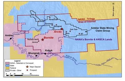 Figure 4 – Updated Claims Map of the Upper Kobuk Mineral Projects (CNW Group/Trilogy Metals Inc.)