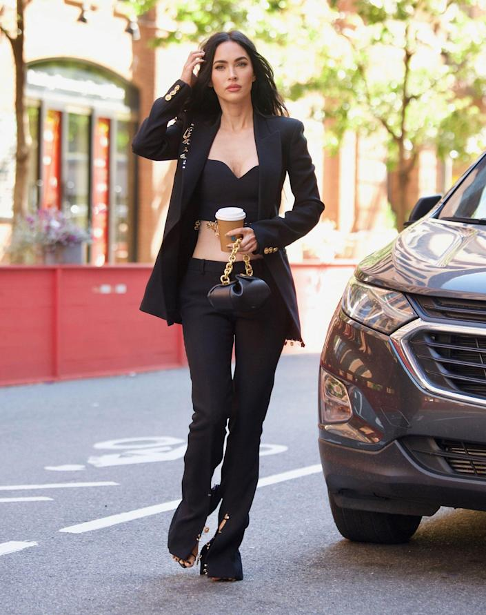 <p>Megan Fox gets all dressed up for a coffee run in New York City on Sept. 23. </p>