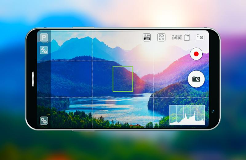 Creadtive abstract digital photography art and internet web wireless technology business concept: 3D render illustration of modern black glossy touchscreen smartphone or mobile phone with photo camera app screen against blurred background of scenic nature landscape