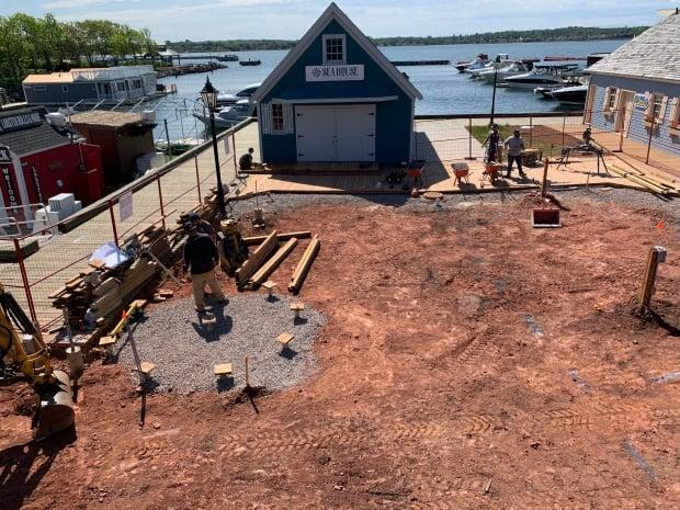 Work on the new public space at Peake's Quay is expected to be complete by the end of June. The octagon in the lower left corner is where the new stage will be located. (Shane Ross/CBC - image credit)