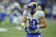 Los Angeles Rams' Cooper Kupp (10) makes a catch during the second half of an NFL football game against the Indianapolis Colts, Sunday, Sept. 19, 2021, in Indianapolis. (AP Photo/Michael Conroy)