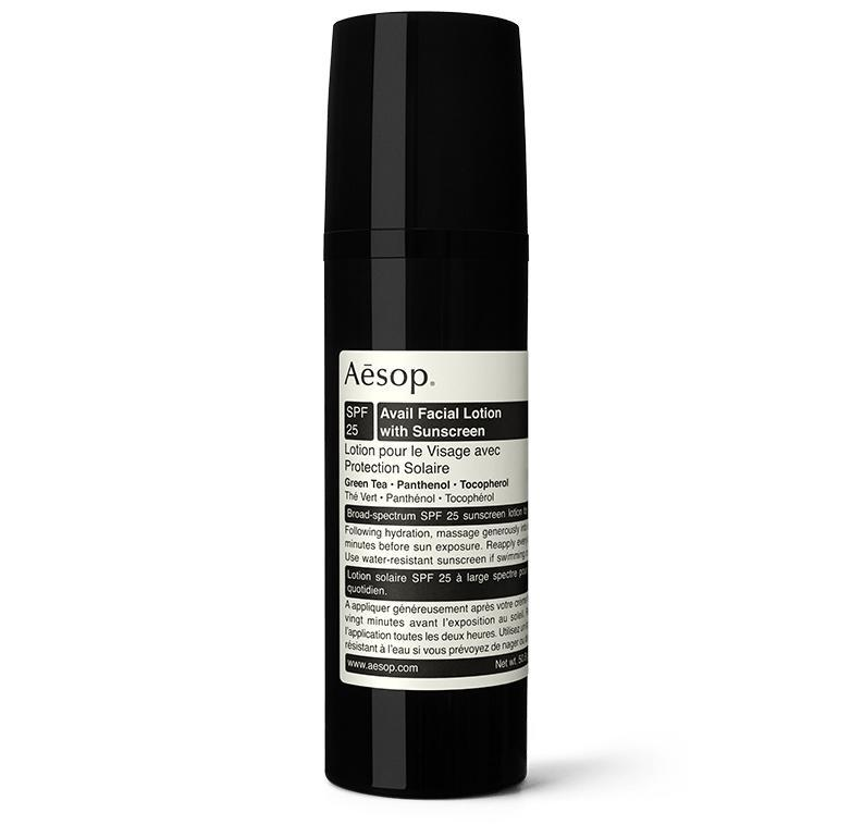 """<h2>Aesop Avail Facial Lotion with Sunscreen<br></h2><br>It's splurge-worthy, to be sure — but, like everything else Aesop makes, their first-ever face sunscreen product is more of a sensorial delight than just another skin-care product to add to your daily routine. Oilier skin types might find it a bit heavy in texture, but the green tea, panthenol, and the lavender oil-infused formula is truly as luxe as facial SPF gets.<br><br><strong>Aesop</strong> Avail Facial Lotion with Sunscreen, $, available at <a href=""""https://go.skimresources.com/?id=30283X879131&url=https%3A%2F%2Fwww.aesop.com%2Fus%2Fp%2Fskin%2Fsun-care-spf%2Favail-facial-lotion-with-sunscreen%2F"""" rel=""""nofollow noopener"""" target=""""_blank"""" data-ylk=""""slk:Aesop"""" class=""""link rapid-noclick-resp"""">Aesop</a>"""
