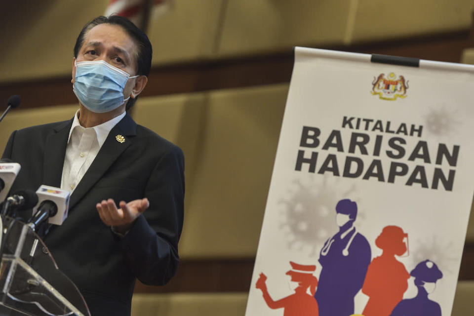 Health director-general Tan Sri Dr Noor Hisham Abdullah speaks during a press conference in Putrajaya on November 21, 2020. — Picture by Miera Zulyana