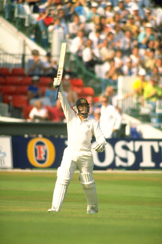 10-15 Aug 1989:  Mark Taylor of Australia celebrates during his innings of 219 in the Fifth Test match against England at Trent Bridge in Nottingham, England. Australia won the match by an innings and 180 runs.  \ Mandatory Credit: Adrian  Murrell/Allsport