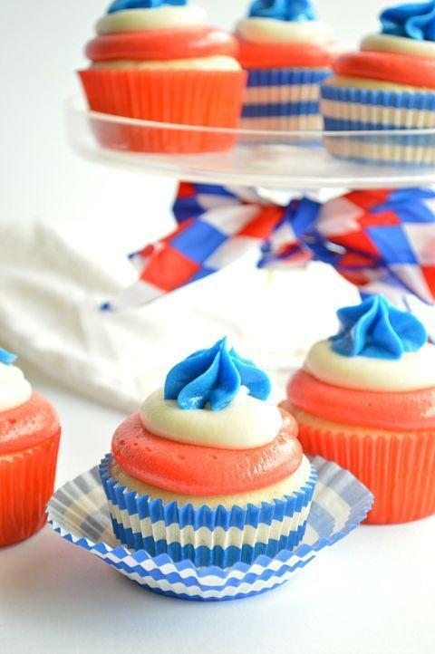 """<p>Show your patriotic spirit by whipping up some tasty <span class=""""redactor-unlink"""">stars and stripes-themed desserts</span>. Bonus: Frosting is a fun way to get your kids in the kitchen. </p><p><strong>RELATED: 38 4th of July Desserts to Show off Your Patriotic Pride</strong></p><p><a class=""""link rapid-noclick-resp"""" href=""""https://www.amazon.com/Chef-Craft-Cupcake-Liners-American/dp/B00KS9T77K/ref=sr_1_2?crid=3HNT057SR2Y0X&dchild=1&keywords=fourth+of+july+cupcake+wrappers&qid=1621521768&sprefix=fourth+of+july+cupcake+%2Caps%2C197&sr=8-2&tag=syn-yahoo-20&ascsubtag=%5Bartid%7C10050.g.4463%5Bsrc%7Cyahoo-us"""" rel=""""nofollow noopener"""" target=""""_blank"""" data-ylk=""""slk:SHOP CUPCAKE LINERS"""">SHOP CUPCAKE LINERS</a></p>"""