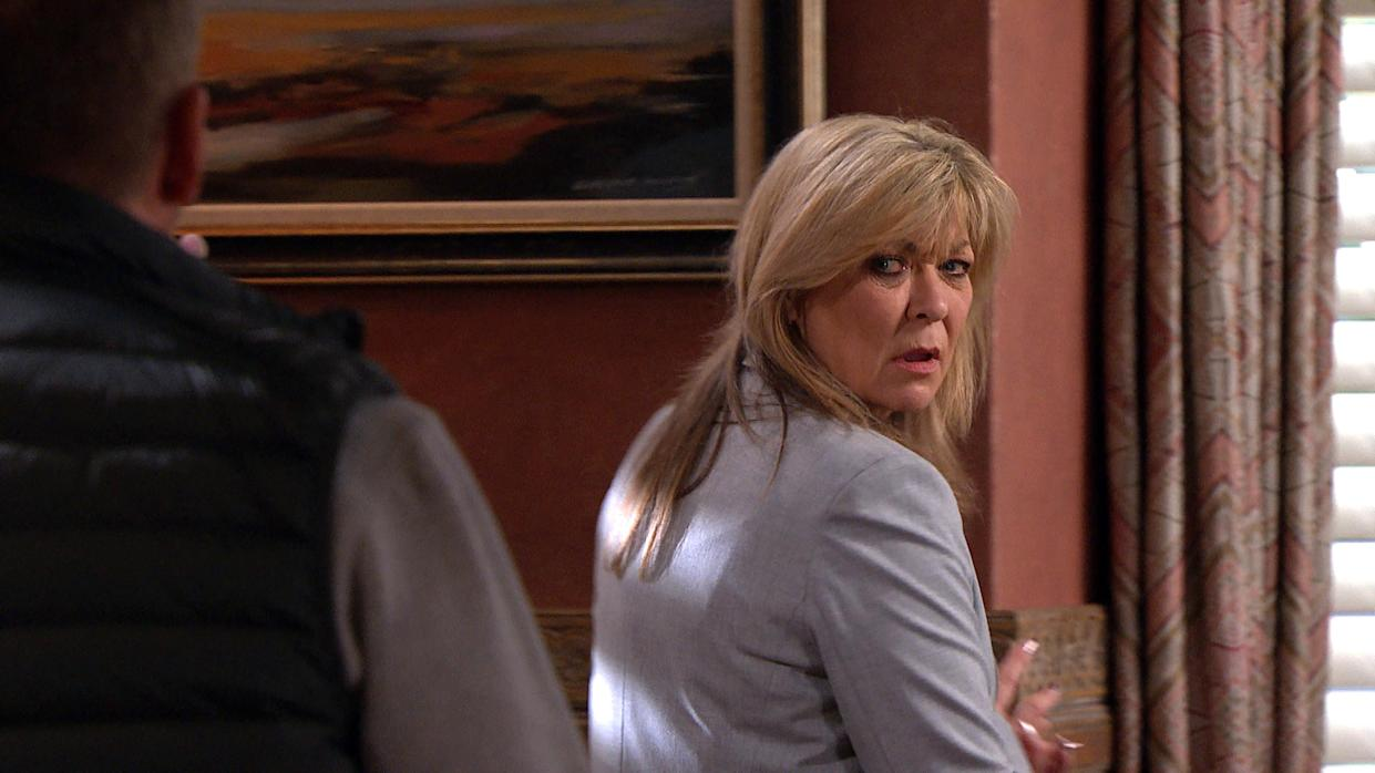 FROM ITV  STRICT EMBARGO  Print media - No Use Before Tuesday 18th May 2021 Online Media - No Use Before 0700hrs Tuesday 18th May  2021  Emmerdale - Ep 9057  Wednesday 26th May 2021  Will Taylor [DEAN ANDREWS] tries to check in on Kim Tate [CLAIRE KING]  but in her paranoid state this only makes her more suspicious. She sends him packing and firmly bolts the door behind him.   Picture contact David.crook@itv.com   This photograph is (C) ITV Plc and can only be reproduced for editorial purposes directly in connection with the programme or event mentioned above, or ITV plc. Once made available by ITV plc Picture Desk, this photograph can be reproduced once only up until the transmission [TX] date and no reproduction fee will be charged. Any subsequent usage may incur a fee. This photograph must not be manipulated [excluding basic cropping] in a manner which alters the visual appearance of the person photographed deemed detrimental or inappropriate by ITV plc Picture Desk. This photograph must not be syndicated to any other company, publication or website, or permanently archived, without the express written permission of ITV Picture Desk. Full Terms and conditions are available on  www.itv.com/presscentre/itvpictures/terms