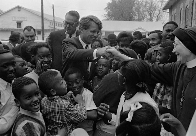 <p>Kennedy during his inspection of the antipoverty program in Greenville, Miss., April 11, 1967. (Photo: AP) </p>