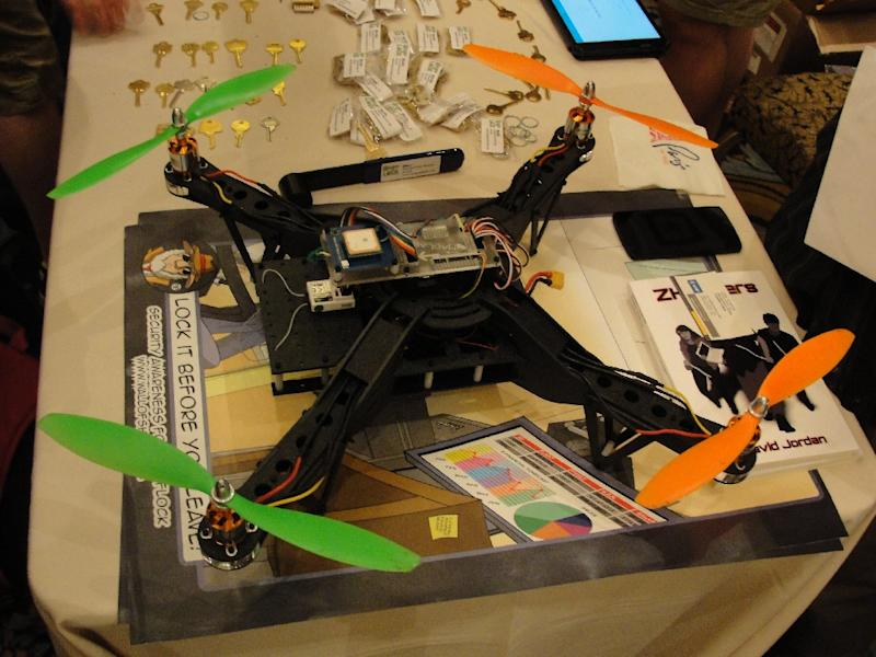 An Aerial Assault drone is displayed during a Def Con hacker gathering in Las Vegas, Nevada, on August 9, 2015 (AFP Photo/Glenn Chapman)