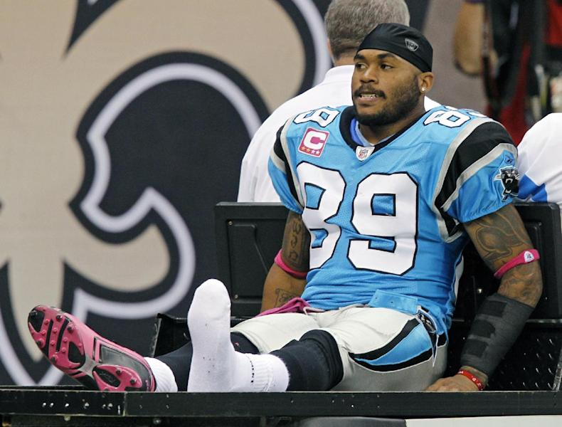 FILE - In this Oct. 3, 2010 file photo, Carolina Panthers wide receiver Steve Smith (89) leaves the field on a cart after being injured in an NFL football game against the New Orleans Saints in New Orleans. Now that the NFL has uncovered a big-money bounty program for players in New Orleans, it likely will zero in on other teams Gregg Williams worked for. That means the Titans, Redskins, Jaguars and Bills probably should all expect to hear from the league soon (AP Photo/Bill Haber)