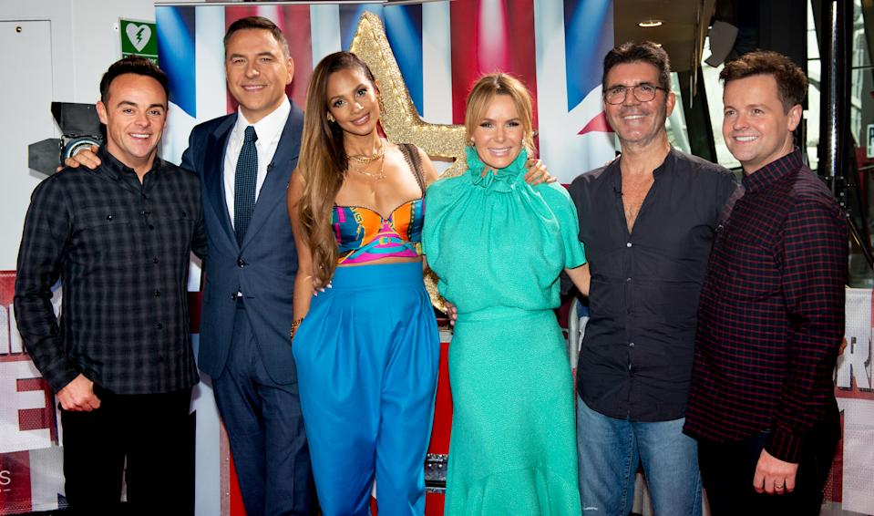 Anthony McPartlin, David Walliams, Alesha Dixon, Amanda Holden, Simon Cowell and Declan Donnelly attend the Britain's Got Talent 2020 Manchester photocall at The Lowry on February 05, 2020 in Manchester, England. (Photo by Shirlaine Forrest/Getty Images)