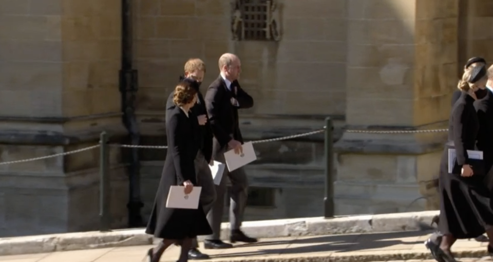 The three royals walked back to the state apartments together. (BBC)