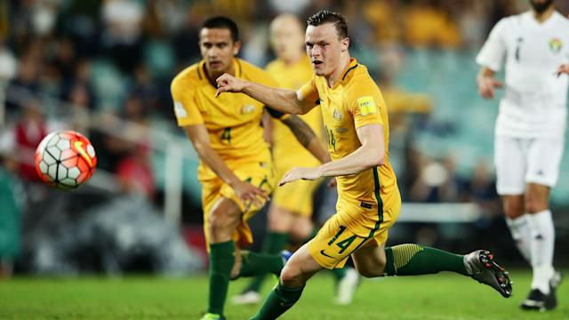 Brad Smith is locked in a battle with Aziz Behich for a starting spot on the left for the Socceroos in tonight's crucial World Cup qualifier with Iraq