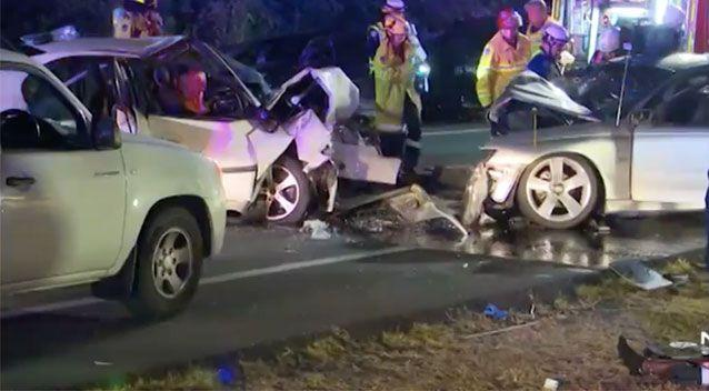 Police allege a 14-year-old boy was behind the wheel of a vehicle that smashed into Ms Oldfield's car. Source: 7 News