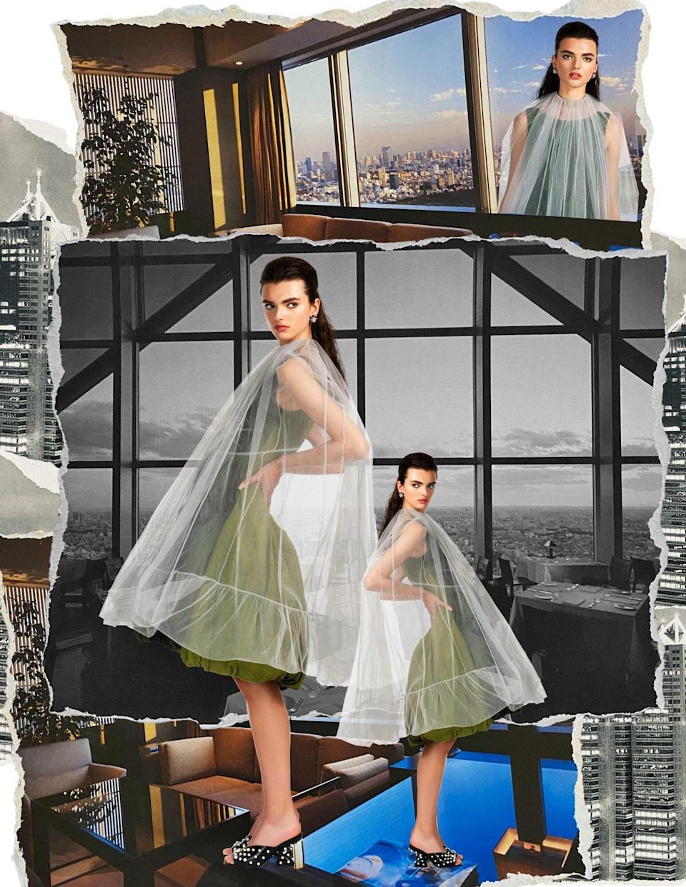 A model wears a sage green dress with a sheer white overlay, superimposed over photos of the Park Hyatt Tokyo hotel